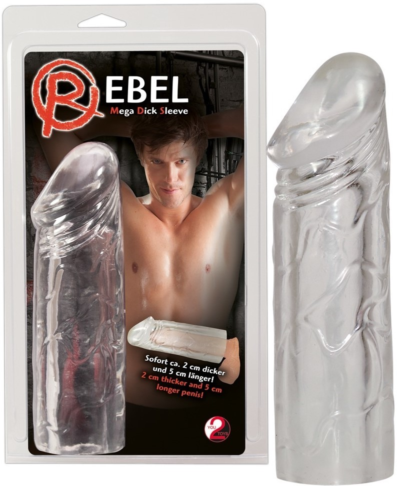 Насадка на пенис Rebel Mega Dick Sleeve, прозрачная